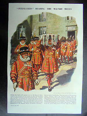 genuine vintage print/picture of `beefeaters` bearing the maundy money