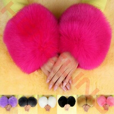 One Pair Faux Rabbit Fur Oversleeve Cuff Winter Warm Wristbands Women's Fashion