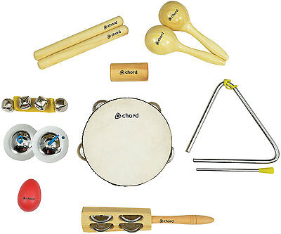 Rhythmic Sounds 9 Hand Percussion Set Instruments Starter Kit Musical