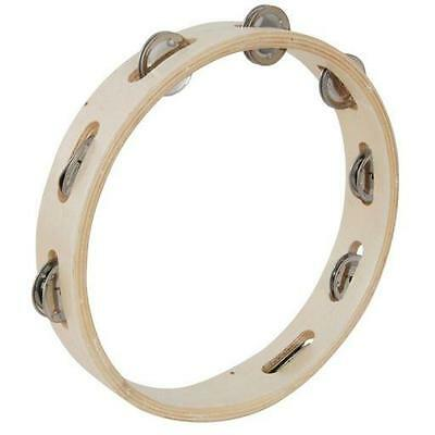 """10"""" wooden ring tambourine with 8 jingles Musical Instrument"""