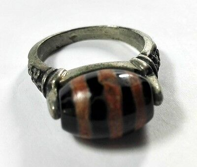 Old Rare / Antique Tibet # Stripe Dzi Bead Ring in Sterling Silver Size 9
