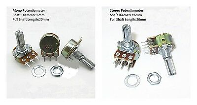 1K-1M Ohm Linear Variable Resistor Mono Stereo Potentiometer 20mm Shaft Pot 1pcs