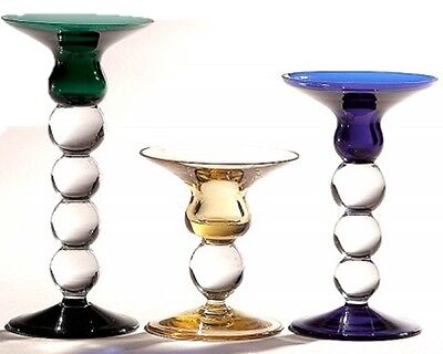 Glass Candle Sticks 10cm 15cm 18cm Candle holder in BLUE GREEN or AMBER