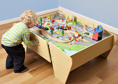 Plum Kids Wooden Train Set and Track Activity reversible Table 140 accessories