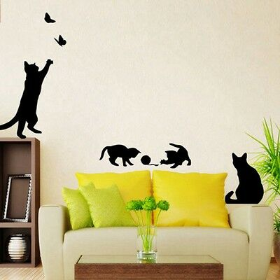 cat play wall stickers living removable room decor decals mural art