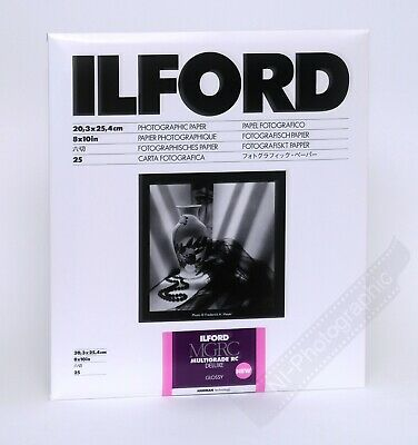"Ilford Multigrade 8""x10"" 20.3x25.4cm B&W Photo Darkroom Paper 25 Sheets Glossy"