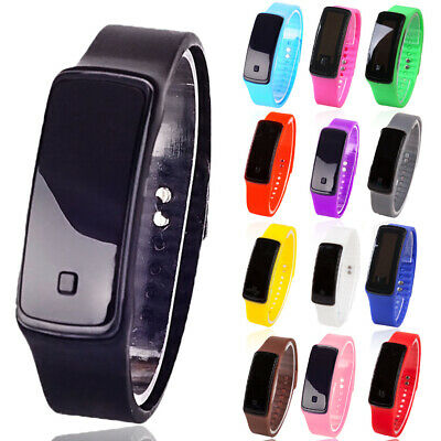 Fashion Mens Women Digital LED Sports Watch Waterproof Silicone Band Wrist Watch