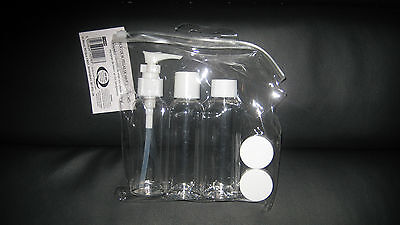 FAB BNIP 5 PIECE TRAVEL BOTTLE SET CLEAR inc 3X 100ml BOTTLES + 2 POTS FAST POST