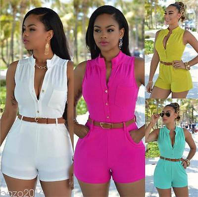 Women Ladies Sleeveless Clubwear Playsuit Bodycon Party Jumpsuit Romper Trousers