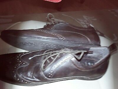F&f Brown Leather Lace Up Shoes Size 9 With Punching Detail
