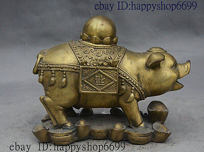 "7"" Folk Chinese fengshui animal Wealth Zodiac Pig Piggy On money yuanbao Statue"