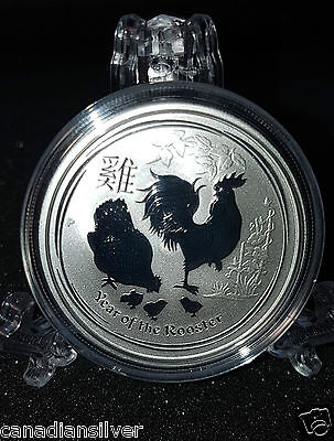2017 1/2 ozLunar Year of the Rooster Coin Australia .999 Fine Silver, Container