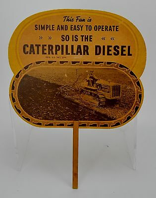 Vintage Caterpillar Tractor Paper Advertising Hand Fan