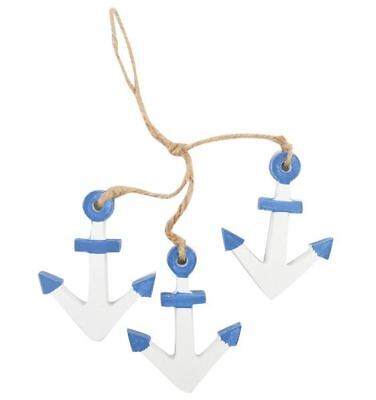 22cm Nautical Wood Blue White Anchor Mobile Wall Hanging Decor Sea