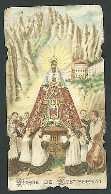 estampa antigua de la Virgen de Montserrat santino holy card image pieuse