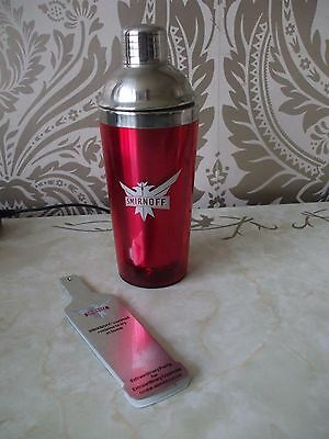 Smirnoff Vodka Red & Stainless Steel Cocktail Shaker With Recipes
