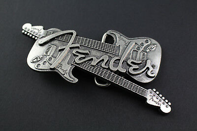 Fender Crossed Guitars Belt Buckle Gun Metal Rock Punk Music Guitar