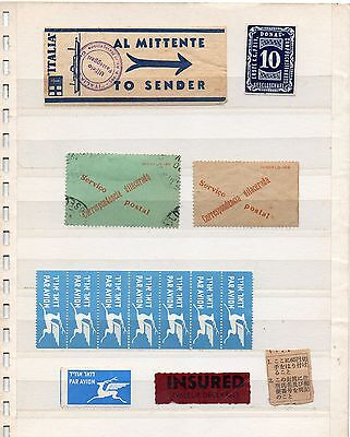 Alle Welt Wordlwide Lot Of Labels Airmail Express Registered Shipp Some Postmark