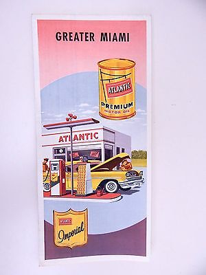 1950's Vintage Atlantic Greater Miami FL Road Map Gas Station Oil Advertising