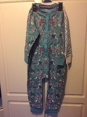 Brand New 2 X Gorgeous Girls Teal Floral NEXT All In One Nightwear 4-5 Years