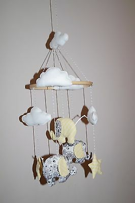 Handmade baby mobile with elephants, clouds, stars floral grey and yellow