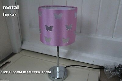 PINK GIRLS ROOM TABLE LAMP BUTTERFLY LAMP GIRLS BED SIDE TABLE LAMP SHADE- pink