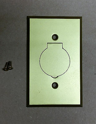 Vintage Gaynor Brass Single Round Outlet Floor / Wall Electrical Cover Plate NOS