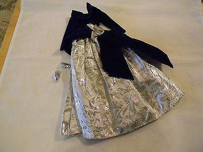 Barbie Doll Size Silver Metallic Gown Navy Velveteen Bodice + Shoes Pink Tag