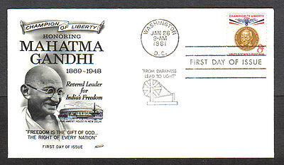 Us Fdc 1961 Mahatma Gandhi 8C Stamp Fleetwood Cachet First Day Of Issue Cover