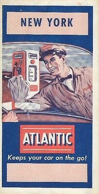 1952 ATLANTIC WHITE FLASH GAS Road Map NEW YORK Long Island Rochester Syracuse