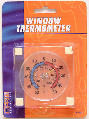 Window Stick On Thermometer C & F Indoor Outdoor Wall Garden Greenhouse Room