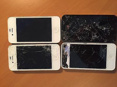 Lot of 4 Apple iPhone 4's AS IS FOR PARTS OR REPAIR