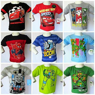 New Boys Character Tee's Cars Spiderman Ninja Turtles Paw Patrol Thomas 2T 3T 4T