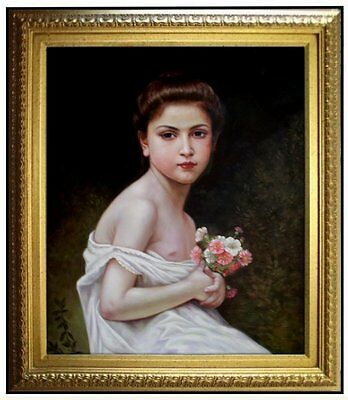 Framed Hand Painted Oil Painting Repro Bouguereau Girl with a Bouque, 20x24in