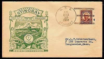 sc# 684 on a US Naval Cover. Submarine, USS Stingray. 1938.