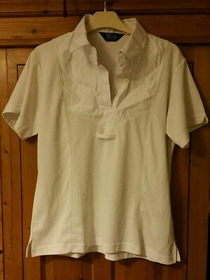 Shires equestrian white short sleeve show shirt with tie loop XL (14 16 18)