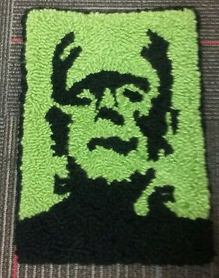 "Rug Hooking Pattern FRANKENSTEIN on Red Dot Fabric 11"" X 15"""