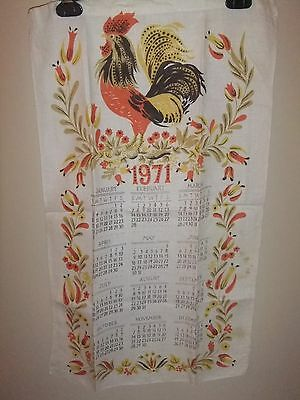 Kitchen Calendar Towel Vintage 1971 Rooster   #13