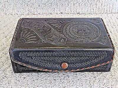 "Vintage Leather Box, House of Oppenheim, Hand Tooled 6 3/4""x4""x 2"", Snap Closure"