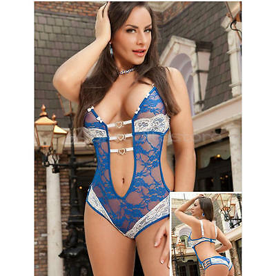 Women Lingerie Babydoll Sleepwear Satin Underwear Lace Dress G-string Nightwears
