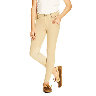 Ariat Heritage Girls/Kids Knee Patch Front Zip Breeches - Tan - All Sizes