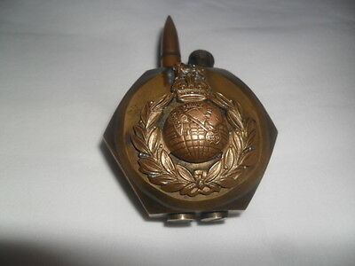 Antique Trench Art Nut Lighter ( Royal Marine / The Welch