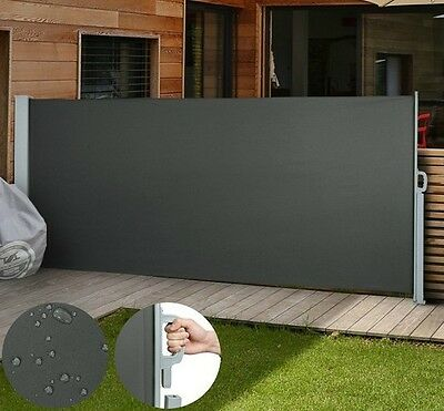 Black Side Awning Retractable Outdoor Wall Canopy Garden Patio Sunshade Screen