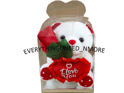 """WHITE TEDDY BEAR 6"""" 