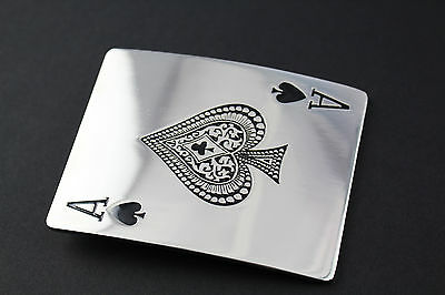 Ace Playing Card Mirror Gambling Belt Buckle Metal Ace Of Spades