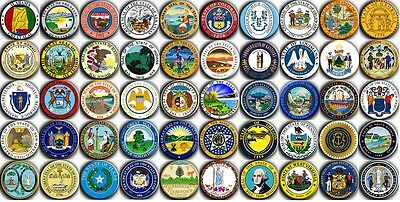 50 Badges Buttons Pins Seals of the U.S. states 38 mm (1.5 inch)