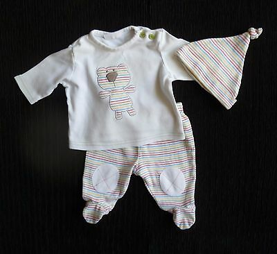 Baby clothes UNISEX BOY GIRL newborn 0-1m outfit multi stripe top,trousers+hat