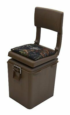 Outdoor Padded Seat Chair w/ Insulated Cooler Brown Camo Sport Hunting