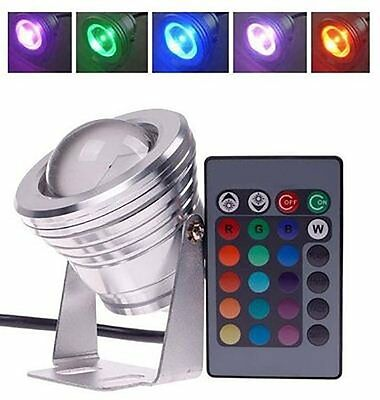 4x 10W Waterproof RGB LED Landscape Light Spotlight Dimmable Garden Lamp+Remote