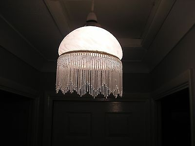 Vintage Mottled White Glass Shade With Real Glass Beaded Fringe